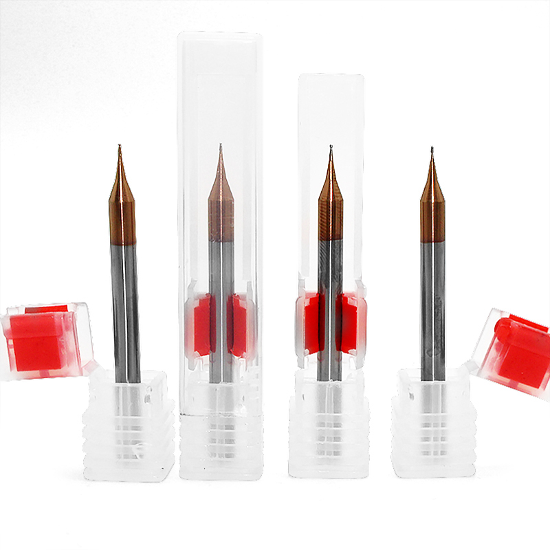 Купить с кэшбэком 1PC Micro 2F HRC60 End Mill 0.2mm 0.3mm 0.4mm 0.5mm to 0.8mm 0.9mm Grain Tungsten Carbide Endmills CNC Milling Router Bit Tool