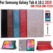 Crocodile Leather Case for Samsung Galaxy Tab A 10.1 2019 SM-T510 SM-T515 T510 T515 Cover Funda Fashion Stand Shell +Flim+Pen цена