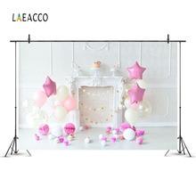 Laeacoo Pink Star Balloons Kamin Wand Geburtstag Baby Neugeborenen Fotografie Backdrops Vinyl Gewohnheiten Hintergründe Für Fotostudio