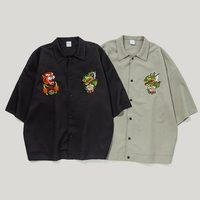 Men's Hip Hop Fashionable Streetwear Dragon Tiger Embroidery Oversize Turn down Collar Three quarter Sleeves Shirt