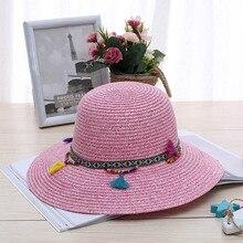 Moda 100% trabajo hecho a mano del sombrero de paja del Sol de verano niña  niño Boho colgante sombrero Sunhat sombrero azul rosa. efc7899aca60