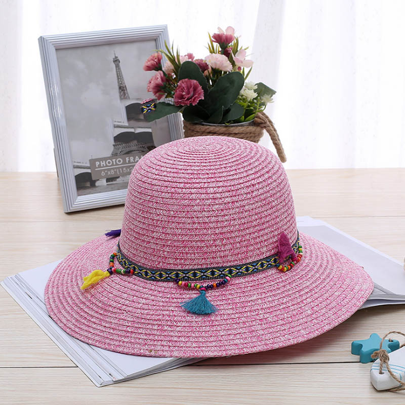 Fashion 100% Handwork Child Summer Straw Sun Hat Girl Boy Boho Beach Pendant Hat Sunhat Trilby Girl Hat Blue Pink Cap