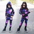 Primavera e no outono novo estilo Coreano moda céu estrelado crianças Mais Velhas longo-sleeved two-piece set Meninos meninas roupas desempenho