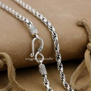 4mm 925 Sterling Silver Woven Double Link Chain Mens Necklace 8L011