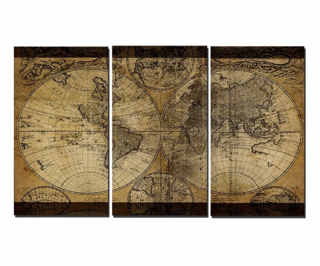 Canvas printings classical world map 3 piece modern style cheap canvas printings classical world map 3 piece modern style cheap pictures decorative wall art framed prints gumiabroncs Image collections