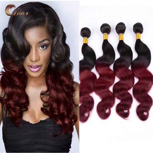 4pcs Lot Cheap Ombre Peruvian Hair Weave Bundles Burgundy Dark Red