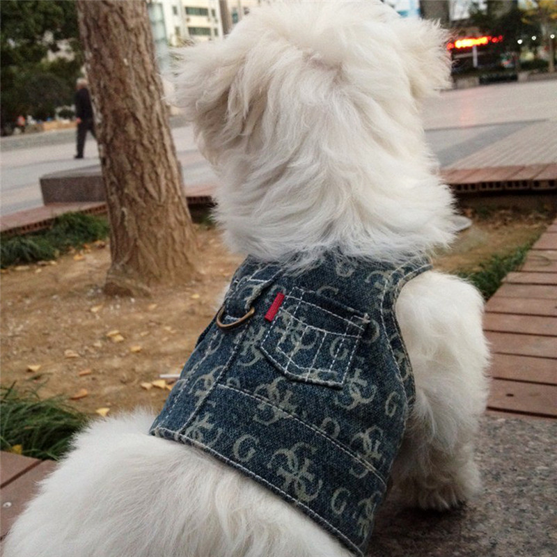 2017 Noble Dog Harness Pet Denim Harnesses Vest Traction Hook Suit Pet Clothes Size S/M 1pcs