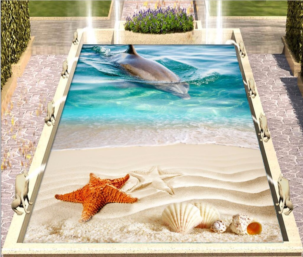 Custom mural 3d flooring picture pvc self adhesive wallpaper Dolphin beach shell home decor painting 3d wall murals wallpaper 3 d pvc flooring custom photo self adhesive material wall sticker 3 d great falls nature painting room wallpaper for walls 3d
