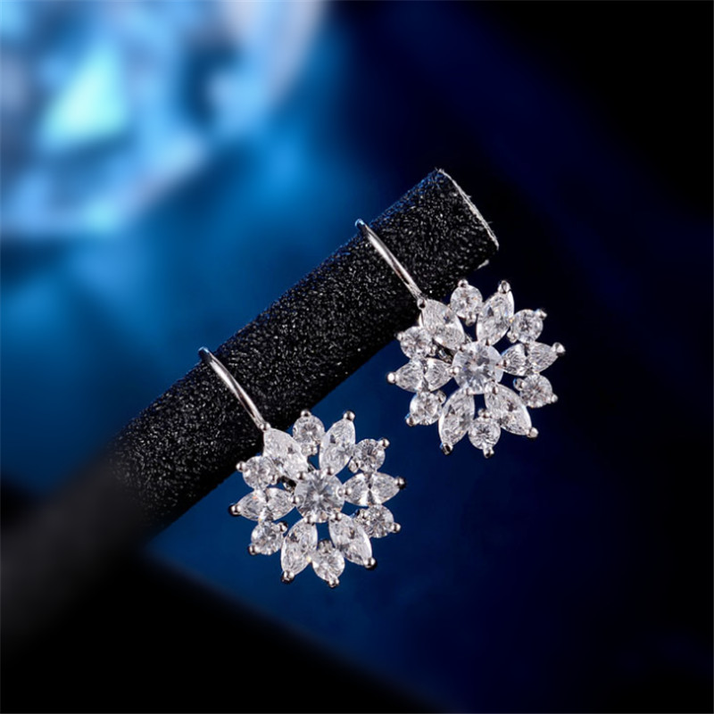 Luxury Zircon Stone Girls Gift Ear Cuff Earring 6pcs Marquise CZ Formed Brilliant Flower Drop Earrings For Women Fashion brincos
