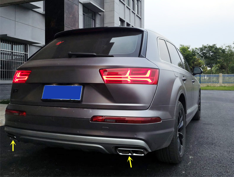 цена на Exterior Rear Tail Tip Pipe End Exhaust Muffler Cover Trim Decoration Stainless Steel 2pcs For Audi Q7 4M 2016 2017 2018