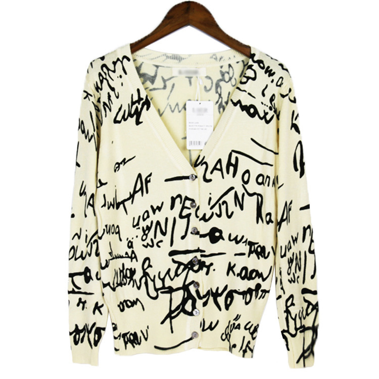 Sweater 2016 New Printed V-Neck Long-Sleeved Coat Shawl Oversize Knitting English Alphabet Printed Cardigan Women Sweaters