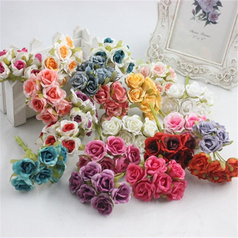 94ebe05f9 60 قطع صغيرة الورود الحرير الزهور محاكاة الزهور الأحمر كاذبة دليل 1 اكليل  الزهور باقات/6 أجزاء