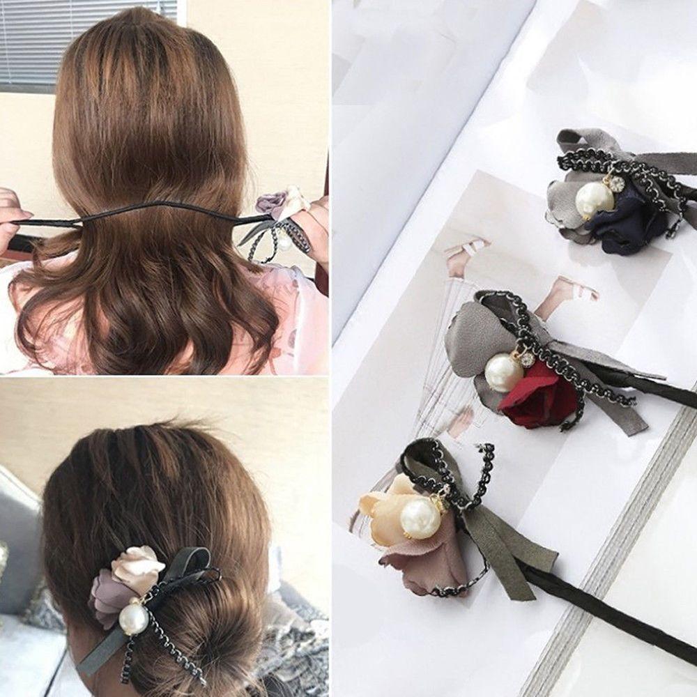 Braiders Good Flower Hair Accessories Magic Bun Maker Girl Donut Quick Messy Women Pearl Hair Bands French Diy Hairstyle Headband Braider Relieving Rheumatism