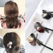 Flower Hair Accessories Magic Bun Maker Girl Donut Quick Messy Women Pearl Hair Bands French DIY Hairstyle Headband Braider