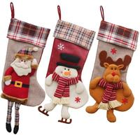 Christmas Gift Bag Embroidered Xmas Stocking Sack Ornament Santa Claus Snowman Reindeer Big Size Stocking Gift