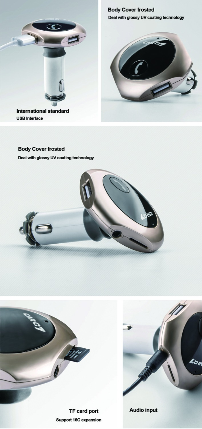 New Q7 FM Transmitter Car Bluetooth MP3 Dual USB Car Charger 360 Degree Rotation Free Shipping 12003176