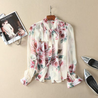 Bow collar floral pattern print women chiffon shirt long sleeve vintage fashion elegant blouse tops new 2017 autumn brand
