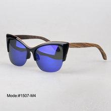 1507 fashionable cat eye spring hinged polarized Acetate optical frame wooden temple sunglasses sunshades sun glasses