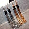Banhado A ouro Declaração de Metal Borla Brincos Longos Para As Mulheres Bijoux Clássico Da Moda de Jóias Por Atacado Presente Agradável