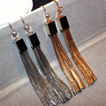 Gold Plated Statement Metal Tassel Long Earrings For Women Bijoux Classic Fashion Jewelry Wholesale Nice Gift