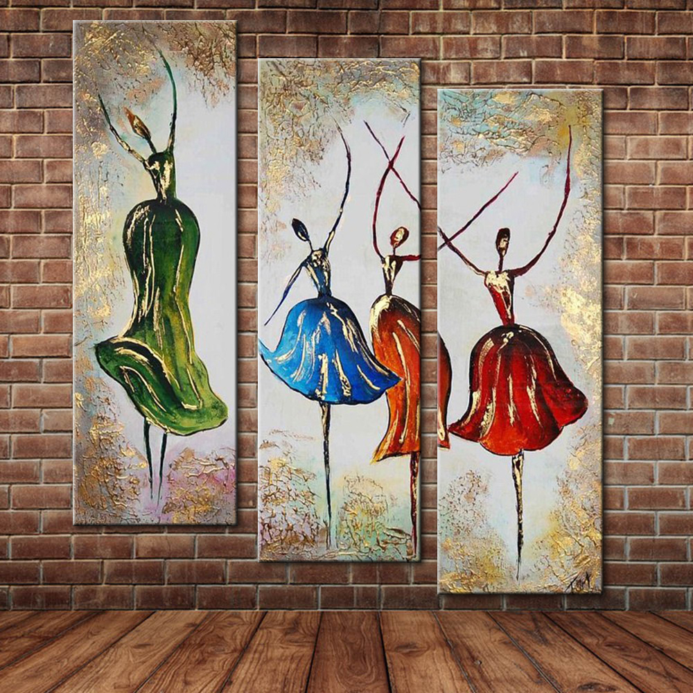Modern Abstract Dancing Girls Oil Painting , Large Group -9671