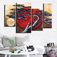 100% hecho a mano abstracto árbol paisaje pintura al óleo 4 unidades arte de la lona Pictures moderno decoración de la pared rojo Sol arte decorativo