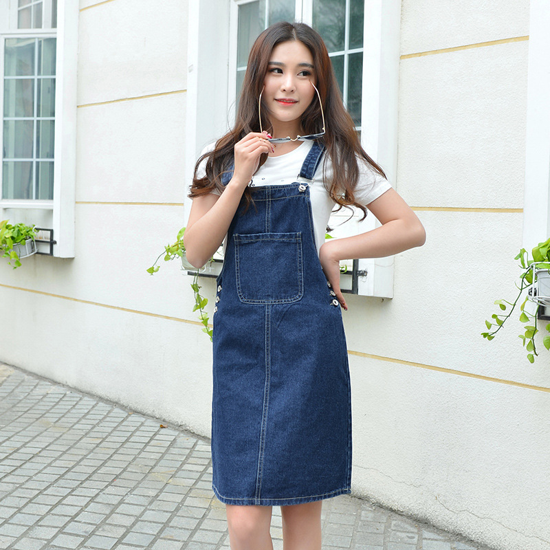 Fashion 2017 Women overalls skirt Elegant Blue Denim Button Pocket Mini straigh Strap Skirt Vintage Casual Female P3620