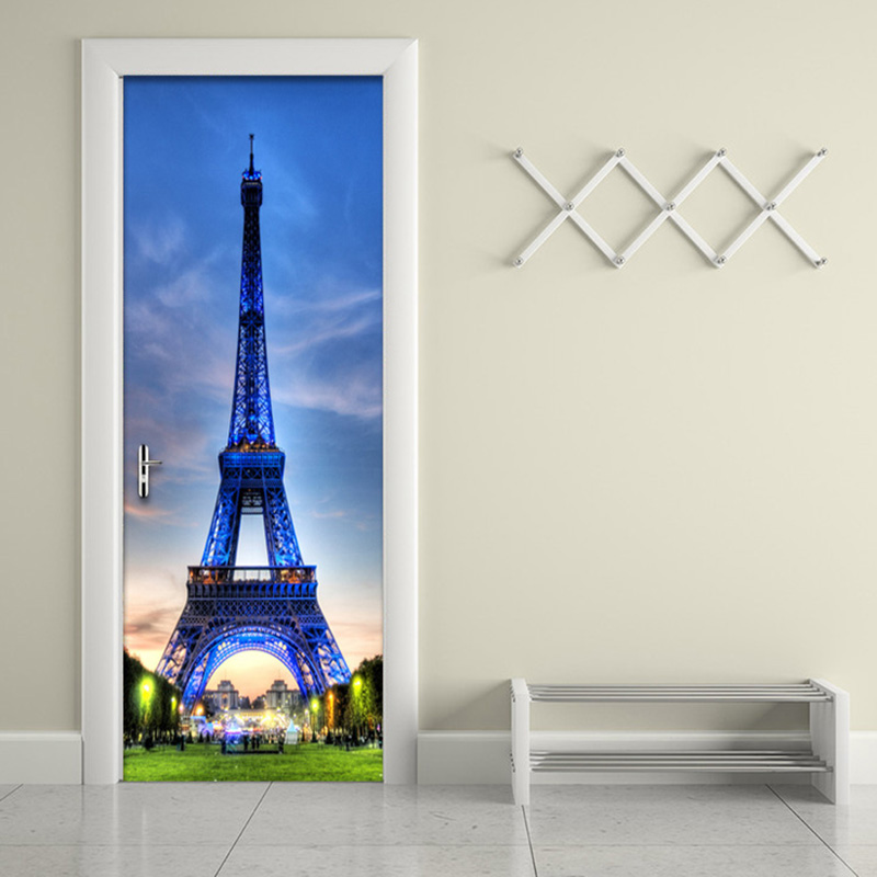 3D Stereo Blue Sky Iron Tower Wall Sticker DIY Mural PVC Waterproof Door Wallpaper Poster Home Decor 3D Door Stickers Wall Paper