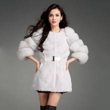 2016 Women's White Rex Rabbit Fur Coat with Fox Fur Sleeve Slim Winter Fashion Jacket Mandarin Outwear Blue Green High quality