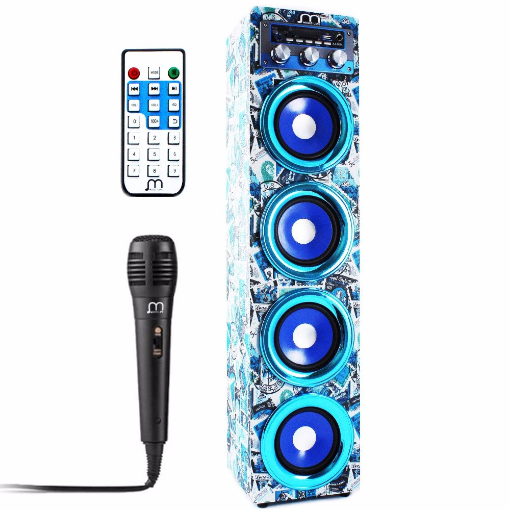 Bluetooth Speaker Karaoke Wireless Handsfree with Microphone FM Radio MP3 Portable speaker tower for party BBQ speaker bluetooth karaoke portable wireless with microphone with fm radio mp3 portable output 20w high power for party bbq