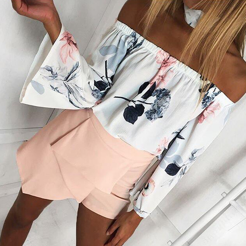 BEFORW 2018 Women Summer Sexy Off Shoulder Blouse Shirt Loose Tops Long Sleeve Flower Print Blouses Casual Whirt Shirts Blusas