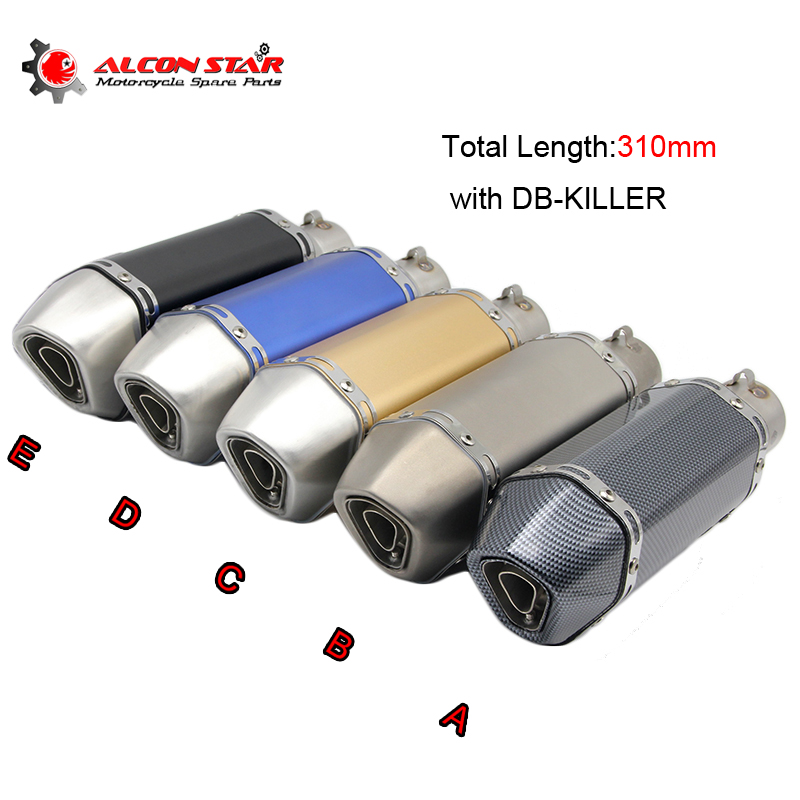 38-51mm Motorcycle Scooter Stainless Steel Exhaust Muffler Pipe 310mm Length