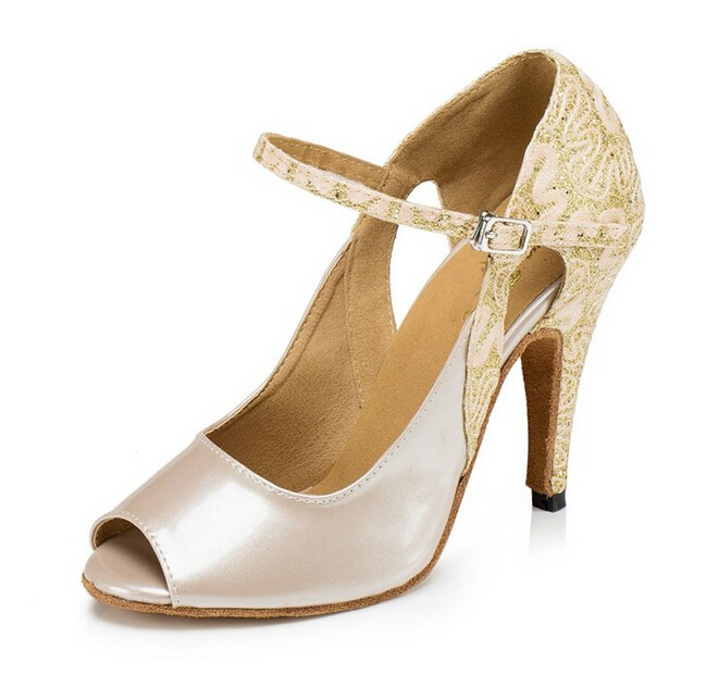 Sexy New Women Nude Leather Glitter Latin Dance Shoes Ballroom Shoes Salsa Tango Bachata Dance Shoes Salsa Dancing Shoes