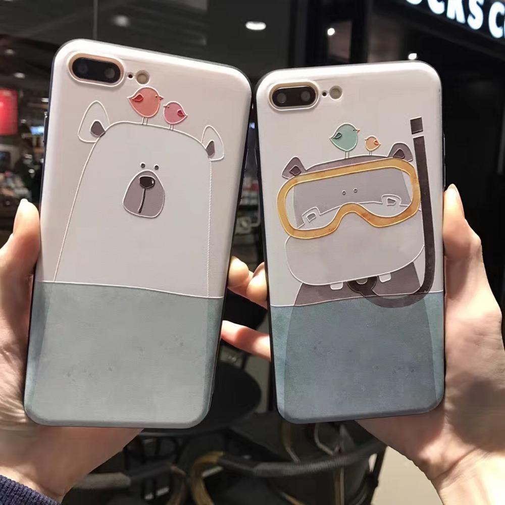 Funny Cartoon Diving Animal Case For iphone 6 6S Plus ...