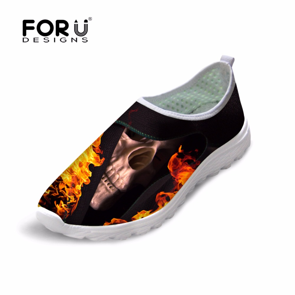 Mens Shoes Fashion Punk Skull Breathable Mesh Shoes for Teenagers Slip-on Casual Flats Shoes Male Chaussure Homme Summer Shoes