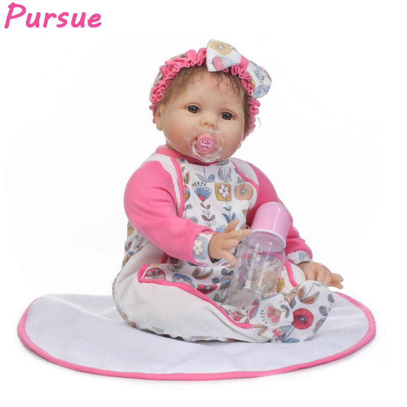 Pursue 55cm Cheap Lovely Lifelike Baby Doll Reborn Newborn Silicone Babies Dolls Real bonecas bebe reborn menina de silicone 55 centek ct 1112 white red