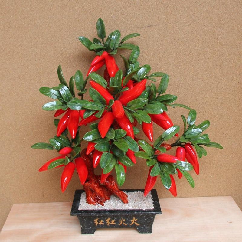 Jade bonsai thriving 28 jade jade pot pepper tree ornaments Home Furnishing jewelry gift room xinqite home furnishing ornaments product suspension globe round 3 inch 85mm blue english version of the spot