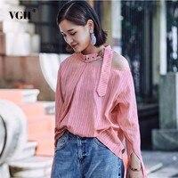 VGH Autumn Striped Halter Women S Shirt Blouse Top Long Sleeve High Waist Loose Shirt Tops