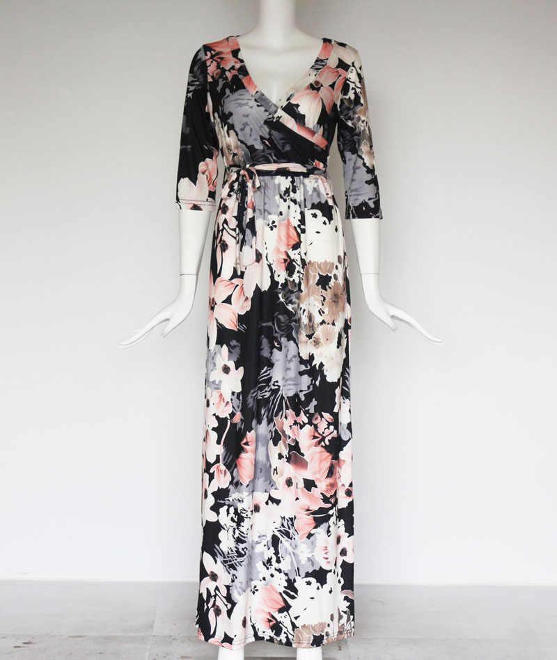 Летнее, длинное, макси платье Для женщин Цветочный принт пляжное платье сексуальное платье с глубоким v-образным вырезом, вечернее облегающее платье для вечеринок длинное платье, платье цвета хаки