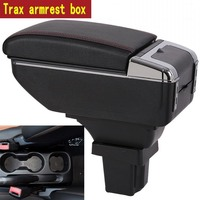 For Chevrolet Trax armrest box central Store content box with cup holder ashtray USB Trax armrests box