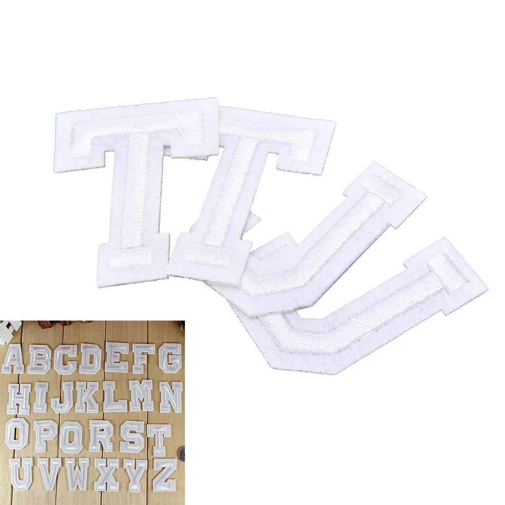 1 Pcs witte Engels Brief patch DIY Ijzer Op Borduurwerk Patches voor kleding Applicaties A-Z
