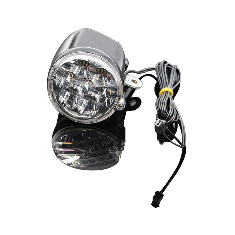 36V Electric Bicycle Headlight Bike Connector 200cm Wire MTB Road Bike Front Lamp On Front Fork Motorcycle Ebike LED Light Velo