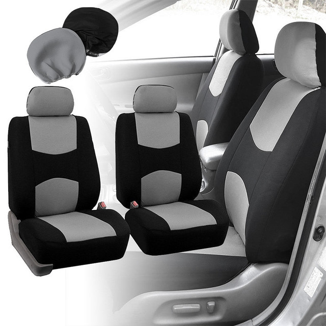 1 Set  Front Car Seat Covers 4 Head Rest Full Set For Auto W/Steering Wheel Belt Pad Head Res