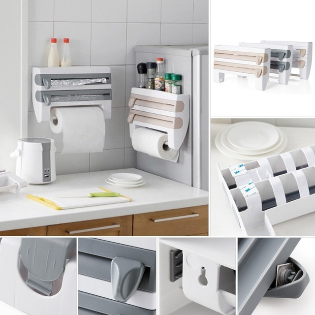 Kitchen Cling Film Storage Rack Shelf Plastic Wrap Cutting Device Sauce  Bottle Storage Rack Paper Towel