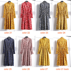 Image 5 - Corduroy Soft Floral Print Women Autumn Winter Dress Stand Collar Female Party Loose Dresses Elastic Waist Beach Vestidos