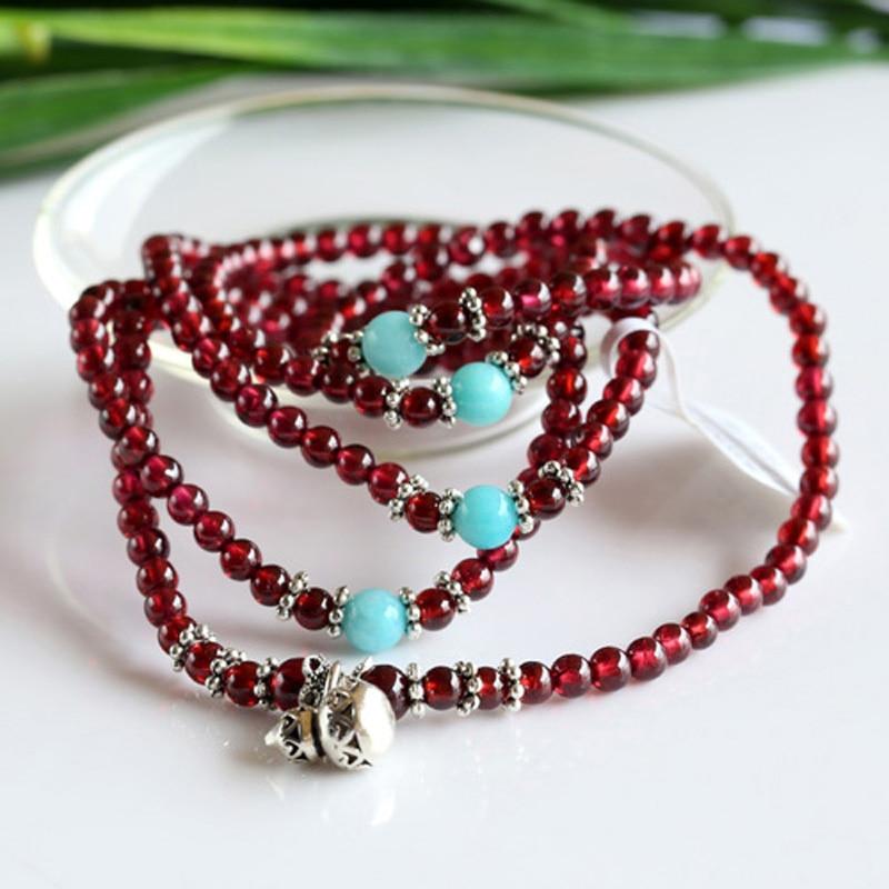 Echt Rode Granaat Met Thailand Zilver Hoge Kwaliteit Stretch 5 Multi Roll Stretch Armband Ketting Ronde Kleine kralen 03461 - 6