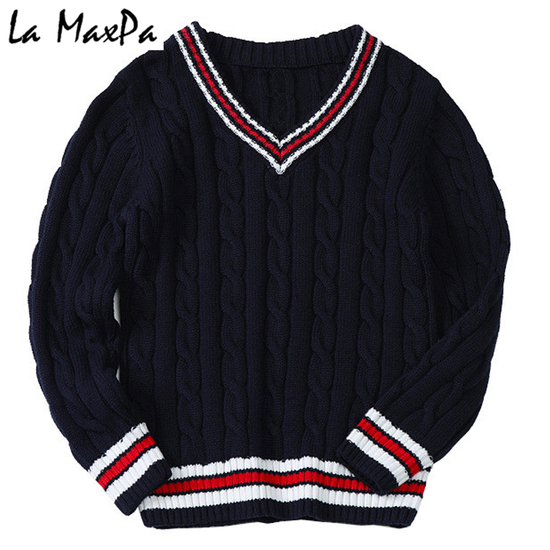 15ee25a335b1 Boys sweater knitted autumn winter V-neck tops preppy style baby ...