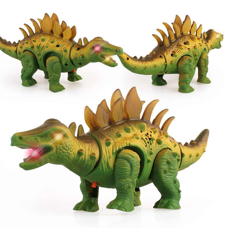 Электрический детский симулятор звука и света шагающий динозавр качели передние и задние игрушки модель для детей Рождественский подарок