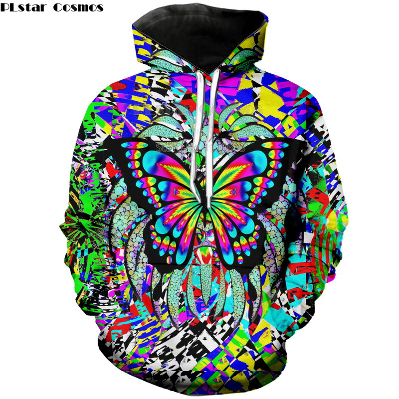 Autumn Psychedelic Color fashion Women Men 3D Print Hoodies Pullover Sweatshirts