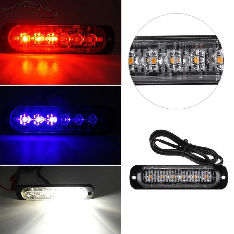 12V-24V 6 LED Slim Mini Flash Light Bar Car Truck Vehicle Moto Emergency Warning Strobe Lamp White Red Blue Auto Accessories 4 led 12 24v car strobe flash light white red amber light vehicle truck rear side light car emergency warning lamp drop shipping